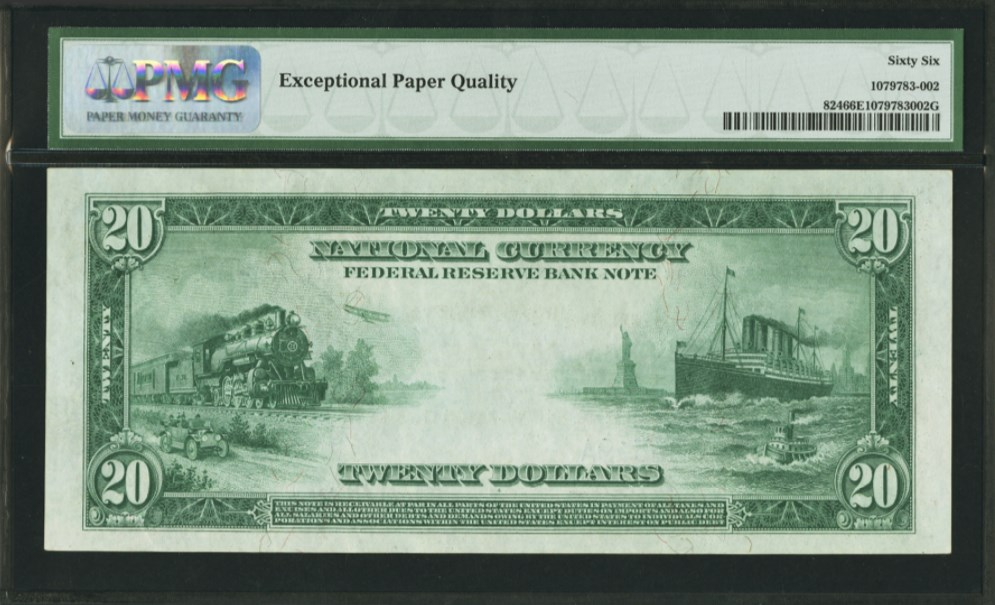 $20 1915 Federal Reserve Bank Note Chicago Fr#824, back. PMG graded 66 Gem Uncirculated EPQ