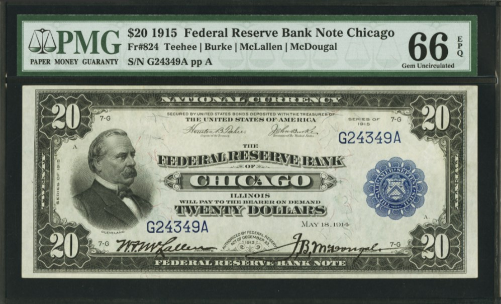 $20 1915 Federal Reserve Bank Note Chicago Fr#824, front. PMG graded 66 Gem Uncirculated EPQ