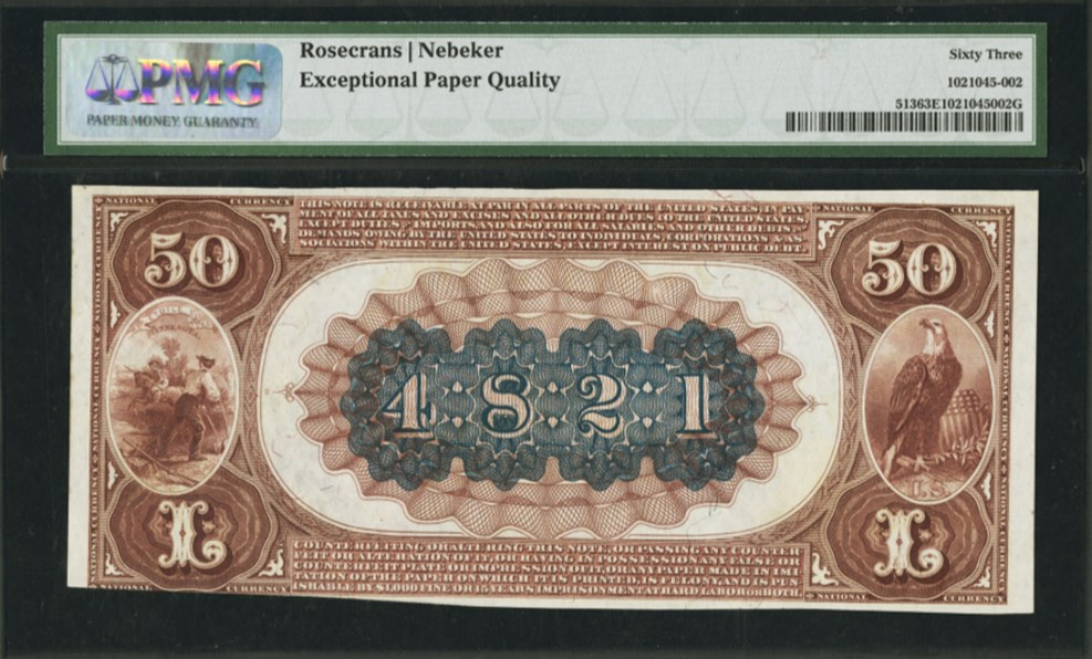 $50 1882 Brown Back Fr#513, back. PMG graded 63 Choice Uncirculated EPQ