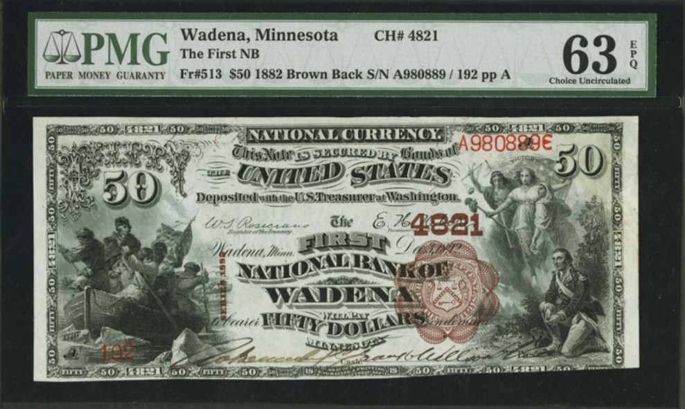 $50 1882 Brown Back Fr#513, front. PMG graded 63 Choice Uncirculated EPQ