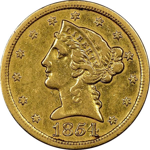 1854-S $5 Half Eagle