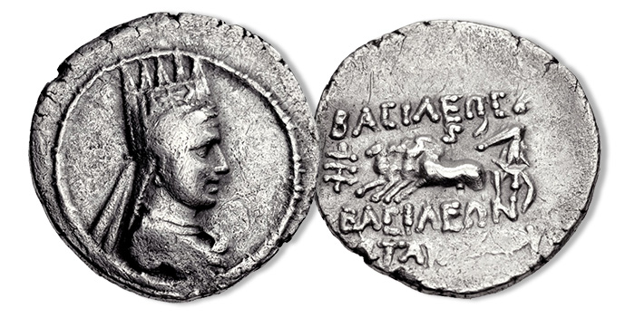KINGS of ARMENIA. Artavasdes II. 56-34 BC. AR Drachm (19mm, 3.94 g, 12h). Artaxata (Artashat) mint. Draped bust right, wearing five-pointed Armenian tiara decorated with comet star between two eagles / Charioteer driving quadriga left, holding statue of Nike; & to left, ς above. SCADA Group 1 (a3/p- [unlisted rev. die]