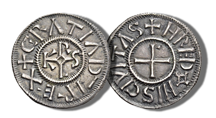 Charles the Bald (Charles II), as King of West Francia, 840-877. Denier (Silver, 19mm, 1.38 g 10), Rennes, 864-877. +GRATIA D¯I REX around KAROLVS monogram. Rev. +HREDONIS CIVITAS around cross pattée. Depeyrot 856. MEC 899-90 var. M&G 1045