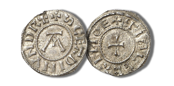 Danish East Anglia. Penny, about 890/905. 1.34 g. St. Edmund memorial coinage. Mintmaster RISLECA (Risleca). Letter A // Cross. North 483; Seaby 960.