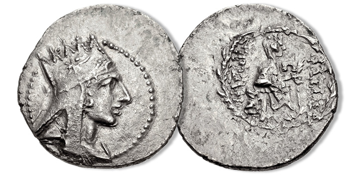 Tigranes II 'the Great'. 95-56 BC. AR Drachm (20mm, 3.98 g, 12h). Satellite mint of Maskos (Damascus). Draped bust right, wearing five-pointed Armenian tiara decorated with comet star and volute / Tyche seated right on rock pile, holding palm frond; Ω to inner right; to lower right, river god Orontes swimming right; all within laurel wreath. Nercessian, Tigranes 14a (this coin) = SCADA Group 1 (a1/p1a – this coin cited and illustrated) = AC 39 (this coin illustrated); CAA 49. Extremely rare, with only three other examples cited in SCADA.
