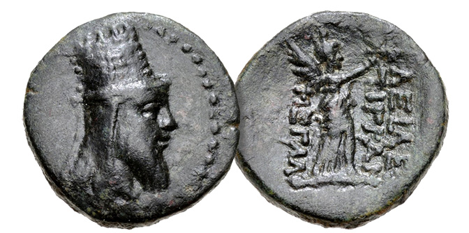 KINGS of ARMENIA. Tigranes VI. First reign, AD 60-62. Æ (19mm, 5.38 g, 12h). Head right, wearing tiara / Nike advancing right, holding wreath and palm frond. Kovacs, Armenia II 14; CAA 148; AC 162-3.