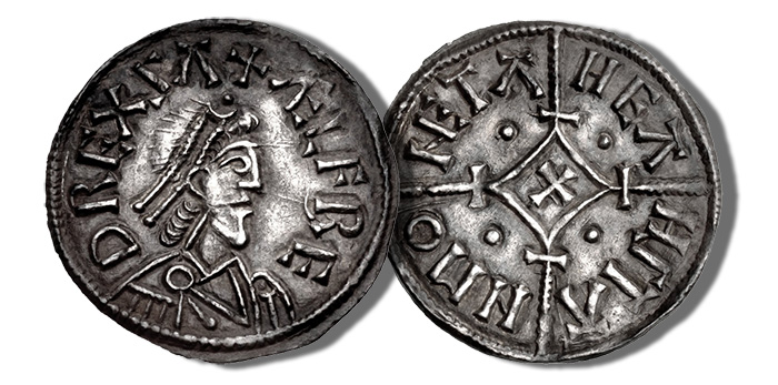 Kings of Wessex. Alfred the Great. 871-899. AR Penny (20mm, 1.38 g, 5h). Cross-and-Lozenge type (BMC v). Winchester style; Heahstan, moneyer. Struck circa 875-880. + ÆLFRE D REX Λ, diademed bust right / HEΛ HSTΛ N MO (NE)TA, cross pattée within lozenge over long beaded cross; crossbars at lozenge ends. Blackburn & Keynes 46 = SCBI 9 (Ashmolean), 247 (same dies); BMC –; EMC 2016.0034 (this coin)