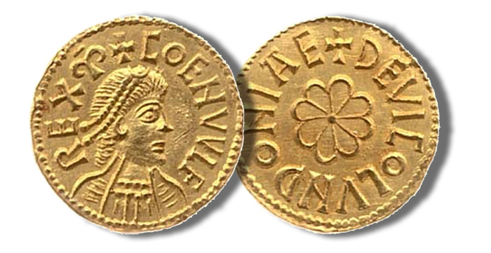 Coenwulf, King of Mercia (796-821), Gold penny or Mancus of 30 pence, 4.33g., London, diademed bust of Coenwulf right, finely drawn with four horizontal lines on the shoulders, dividing obverse legend, coenvvlf rex m (rounded) beginning at 12 o'clock, rev. de vico lvndoniae around rosette developed from a cross over a cross moline, no inner circles, initial cross of four wedges with centre pellet on both sides (MEC -; N -; S -), a magnificent coin of superb workmanship,