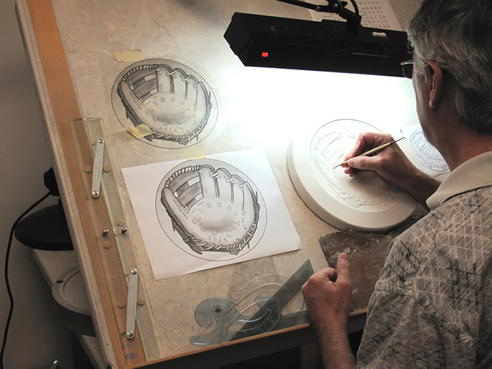 Don Everhart working on Baseball Hall of Fame commemorative coin design. Image: U.S. Mint