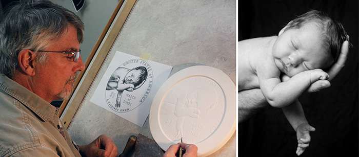 Don Everhart working on March of Dimes Commemorative Coin plaster
