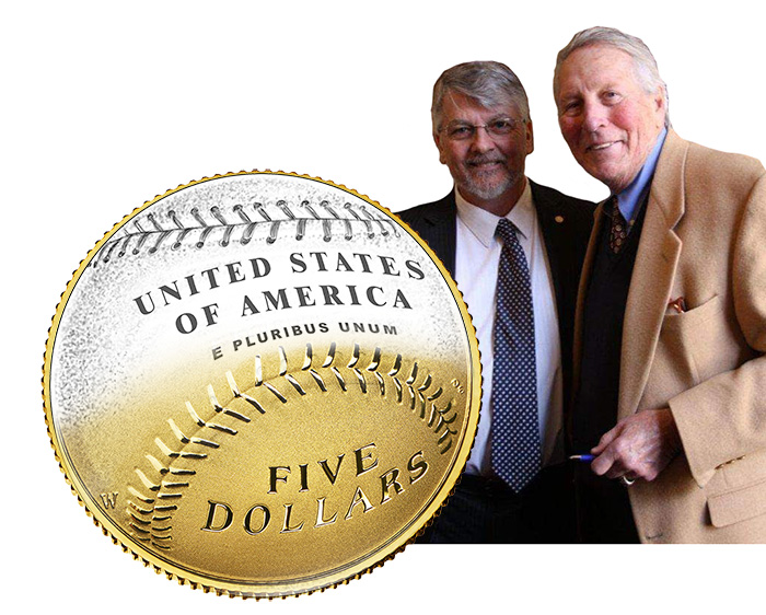 Baseball Hall of Fame Five Dollar Coin (left). Don Everhart and Brooks Robinson (right). Image: U.S. Mint / Illustration: CoinWeek