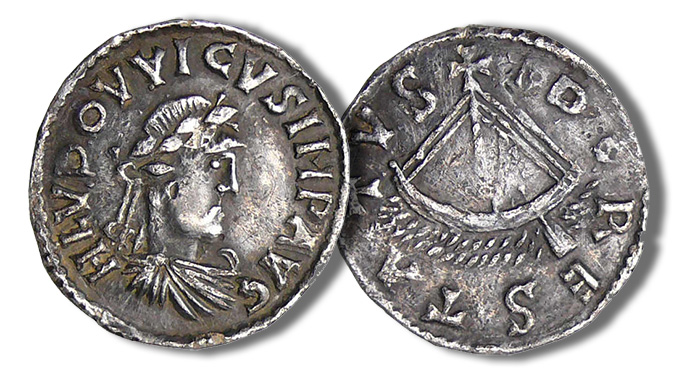 Louis the Pious, 814-840. Denarius, Tours. H LVDOVVICVS IMP AVG Laureate bust r. Rev. TVR – O – NES City gate. 1,71 g. M.-G. 368. Prou 444. Very rare.