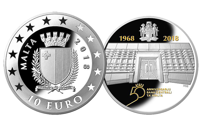 50th Anniversary of the Central Bank of Malta 10 Euro Silver Coin - World Coin News