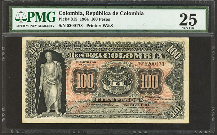 Lot 1523: Bogota, Colombia, Republica de Colombia, 100 pesos, April 1904