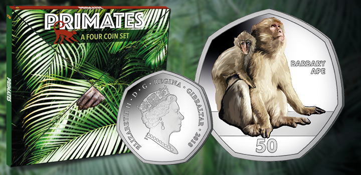 Primates: A Four Coin Set - Barbary Ape