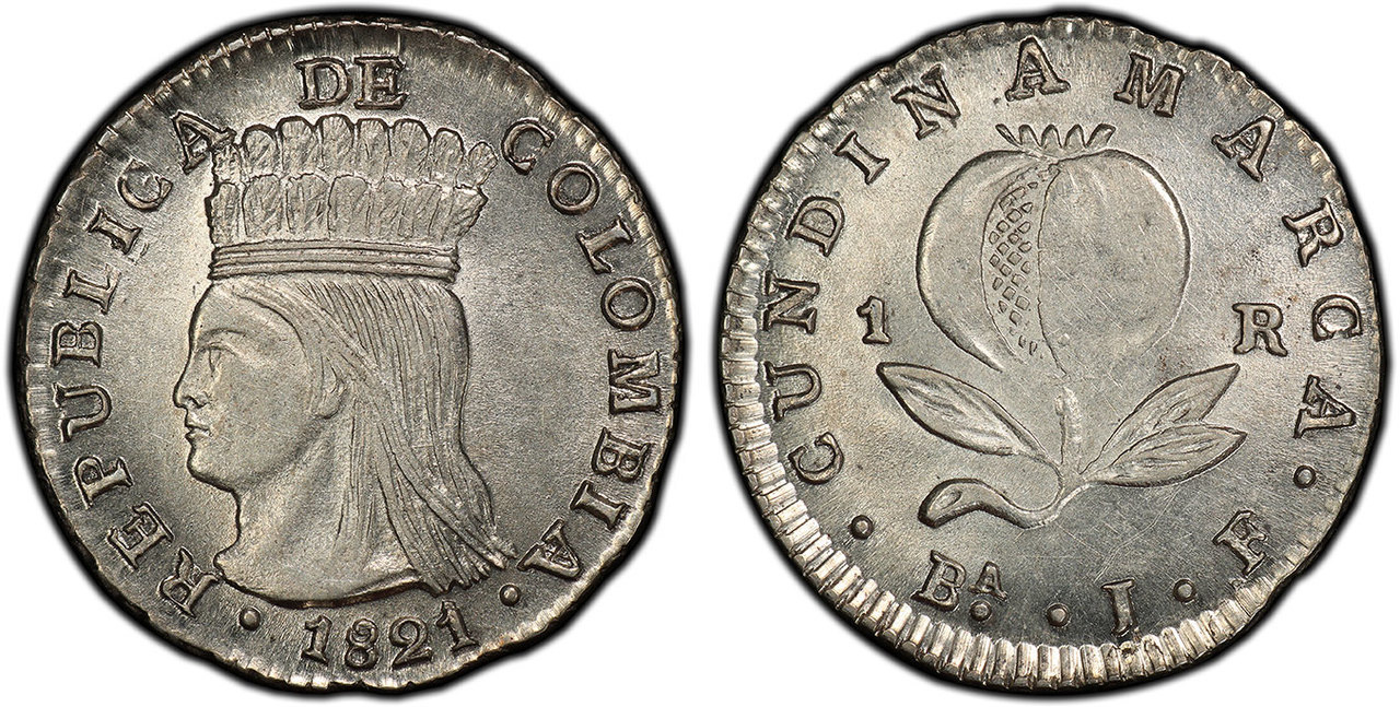 COLOMBIA. 1821 Ba JF AR Real. Images courtesy Atlas Numismatics