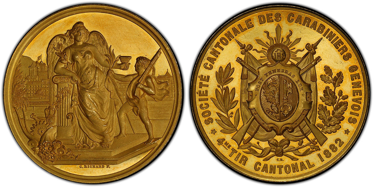 SWITZERLAND. Geneva Canton. 1882 AV Shooting Medal. Images courtesy Atlas Numismatics