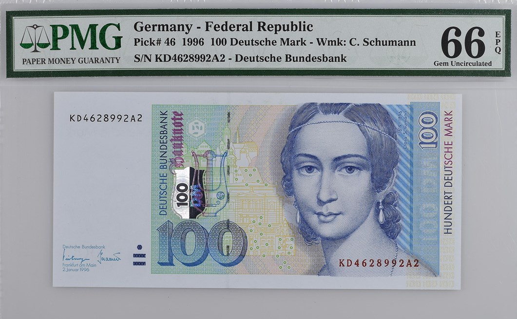 Front, Federal Republic of Germany 1996 100 Deutsche Mark. Image courtesy Paper Money Guaranty