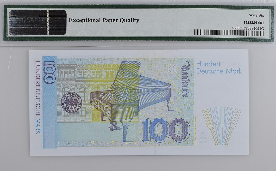 Back, Federal Republic of Germany 1996 100 Deutsche Mark. Image courtesy Paper Money Guaranty