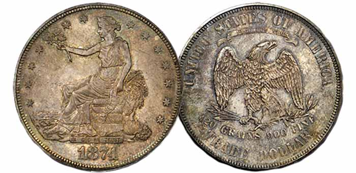 1874 Trade Dollar - Stack's Bowers Baltimore Auction