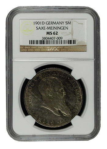 1901-D Germany 5 Mark - NGC MS62