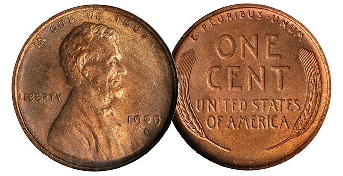 1909-S Lincoln Cent. V.D.B. MS-63 RB (NGC). Price Realized: $1,610.