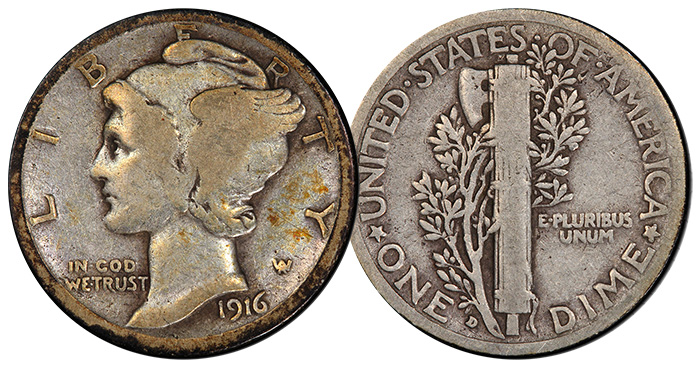 1916-D Winged Liberty Dime. PCGS VG-8 CAC. Price Realized: $1,292.50.