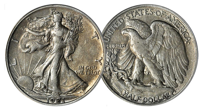 1921 Walking Liberty half dollar. PCGS EX40. Price Realized: $1,762.50.