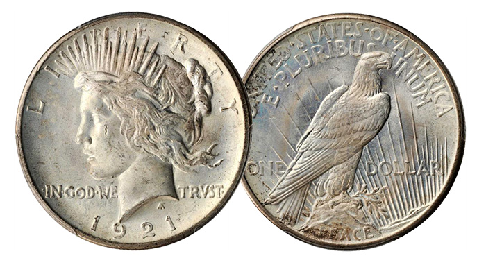 1921 Peace Silver Dollar. High Relief. MS-65 (PCGS). Price Realized: $1,645.