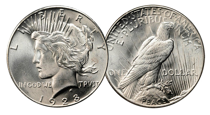 1928 Peace Silver Dollar. MS-64 (PCGS). Price Realized: $1,265.