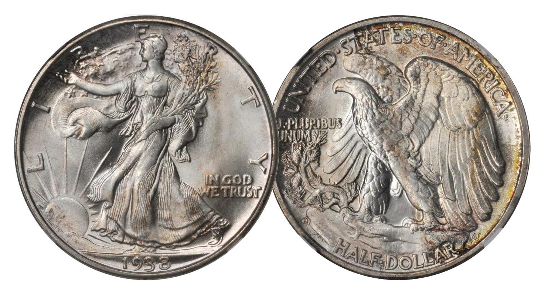 1938-D Walking Liberty Half Dollar. MS-66+ (NGC). Price Realized: $1,800.