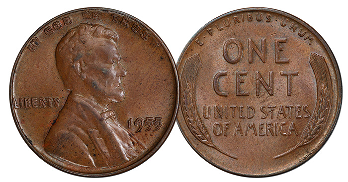 1955 1C Doubled Die Obverse. Price Realized: $1,560.