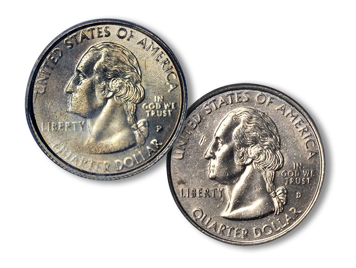 1999-P and 1999-D Washington quarters (Delaware Reverse Not Shown)