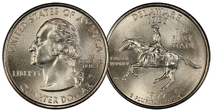 One of 25 1999-P Delaware quarters certified MS68 by PCGS (1 finer). Image: PCGS.