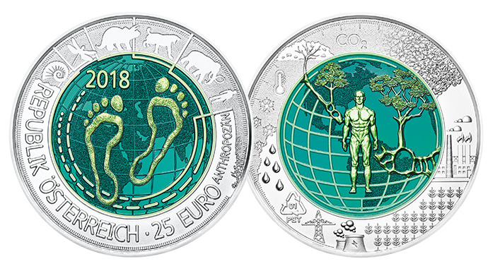 Anthropocene 25 Euro Silver Niobium Coin - Austrian Mint