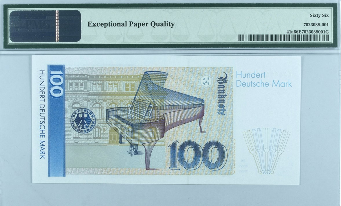 Back, Federal Republic of Germany 100 Deutsche Mark. Image courtesy Paper Money Guaranty