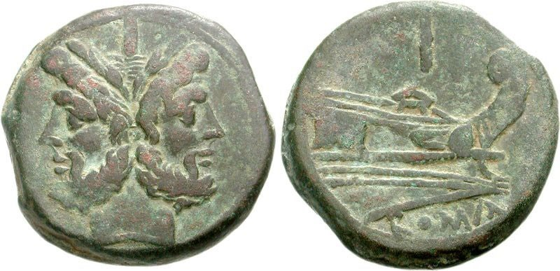 Janus on obverse of ancient Roman bronze coin. Images courtesy CNG