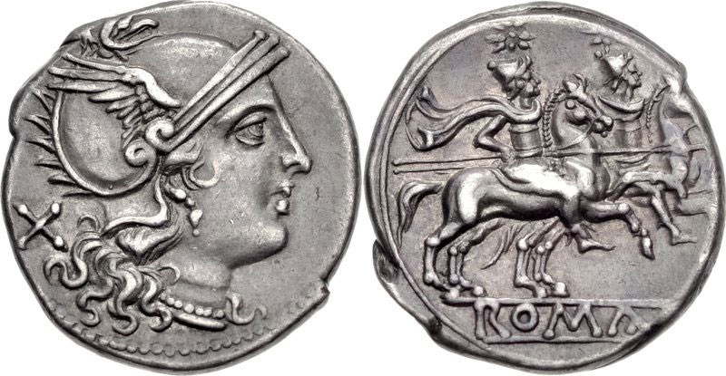 An early silver denarius of Rome. Images courtesy CNG