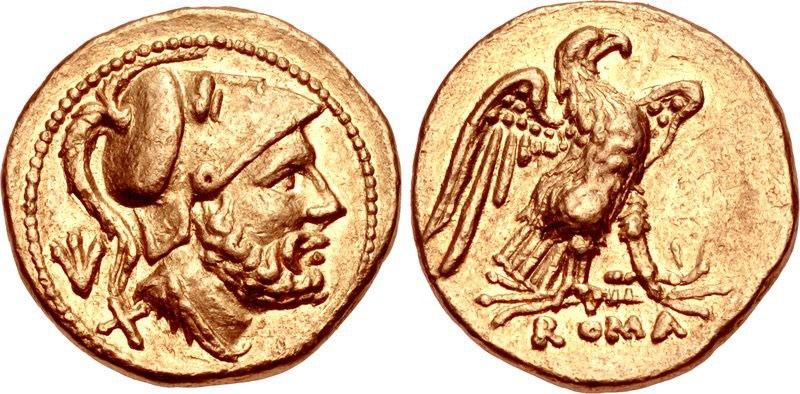 Gold 60-asses featuring Mars and eagle of Jupiter. Images courtesy Classical Numismatic Group (CNG)