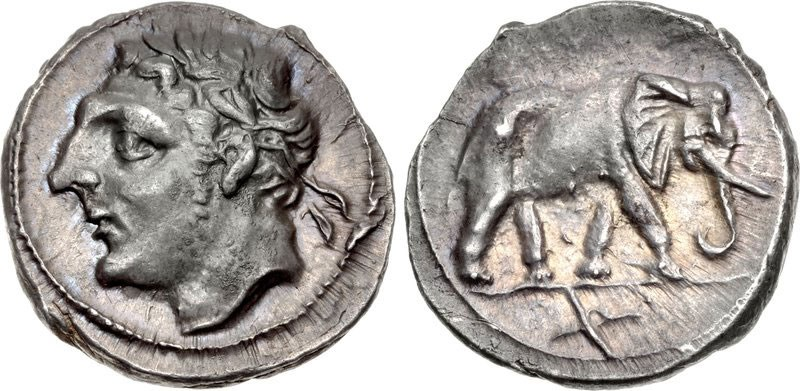 Carthaginian Silver Half Shekel, ca. Second Punic War, featuring Melqart on obverse and elephant on reverse. Images courtesy Classical Numismatic Group (CNG)