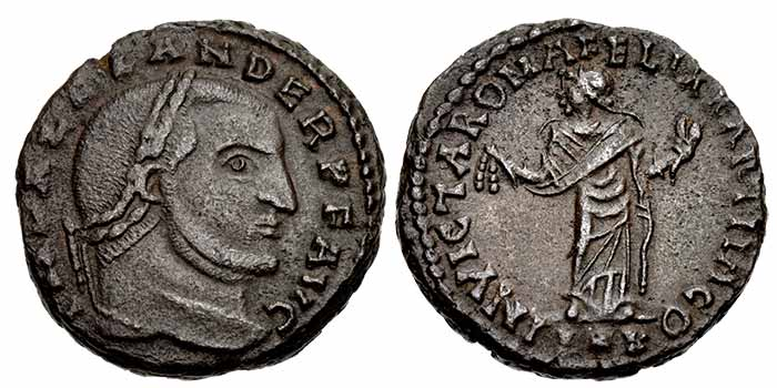 Alexander of Carthage. Usurper, AD 308-310. Æ Follis (20mm, 5.33 g, 6h). Carthago (Carthage) mint. IMP ALEXANDER P F AVG, laureate head right / INVICTA ROMA FELIX KARTHAGO, Carthago standing facing, head left, wearing long robe, holding fruit and grain ears in both hands; P*K. RIC VI 68 var. (mintmark); Salama type V, portrait style F. EF, brown surfaces.