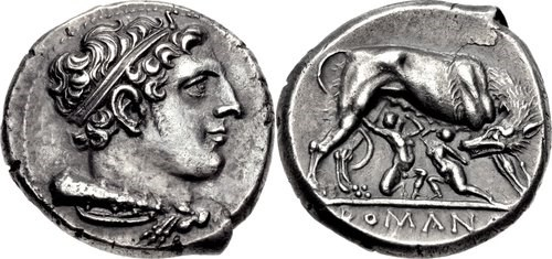 Roman Didrachm, c.275-255 BCE. All images courtesy of Classical Numismatic Group (CNG), NGC
