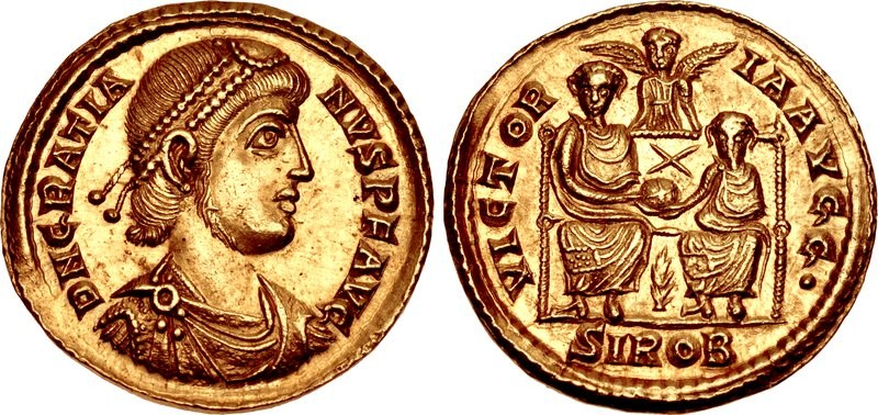 Restored solidus of Gratian (379-80), featuring the emperor and his brother Valentinian II on reverse
