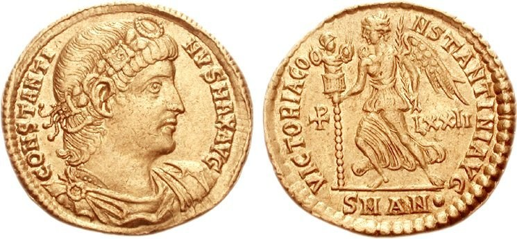 Ancient Roman gold solidus of Constantine I (Victory on reverse), indicating weight