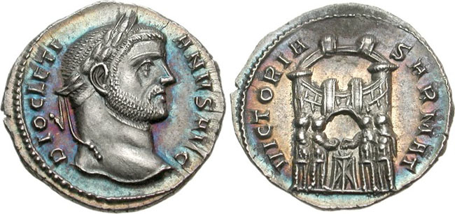 Ancient Roman early argenteus of Diocletian. Images courtesy CNG