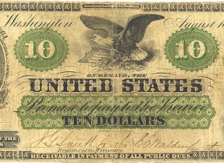 United States 1861 $10 Demand Note. Image courtesy PMG
