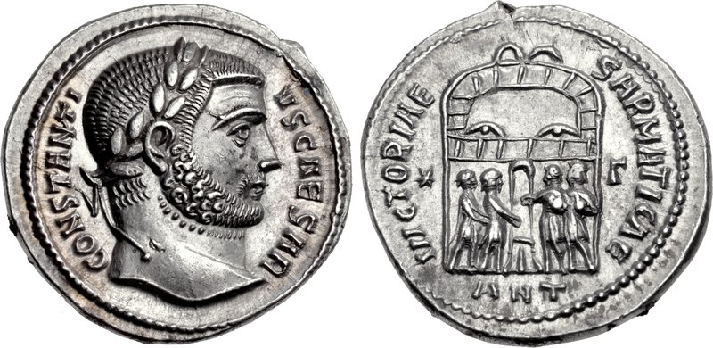 Ancient Roman imperial silver coin of Constantius I. Images courtesy CNG