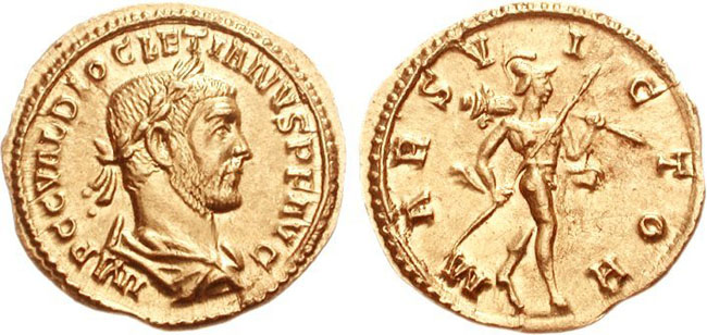 Ancient Roman Imperial gold coin of Diocletian. Images courtesy Classical Numismatic Group (CNG)