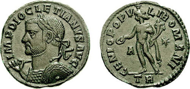 Ancient Roman nummus of Diocletian, Trier. Images courtesy CNG
