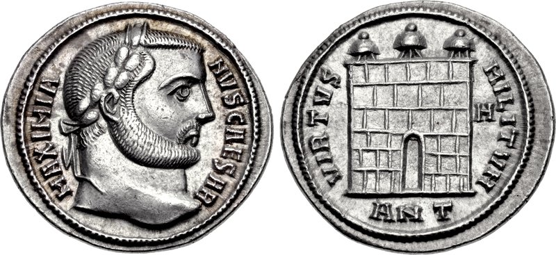 Ancient Roman Imperial silver coin of Galerius. Images courtesy CNG